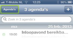 Rechts boven in het scherm van de standaard iPhone Agenda App klik je op Agenda's Plaats eenvoudig het vinkje uit