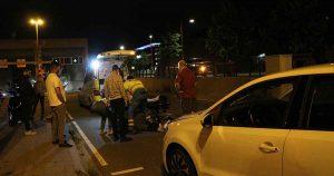 Scooter geschept door auto