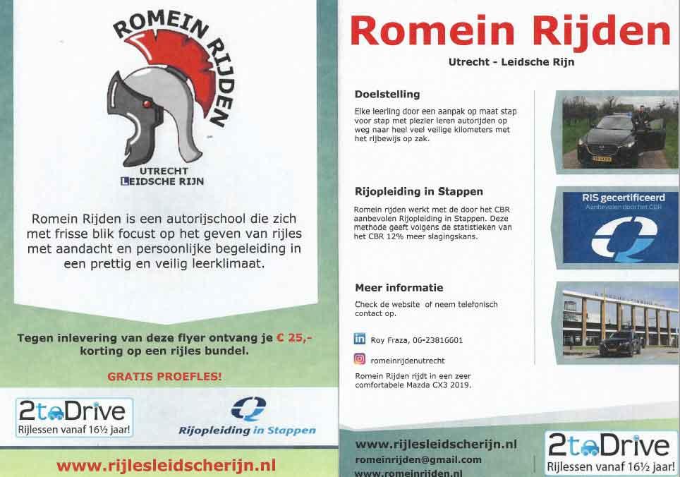Flyer actie van Romein Rijden