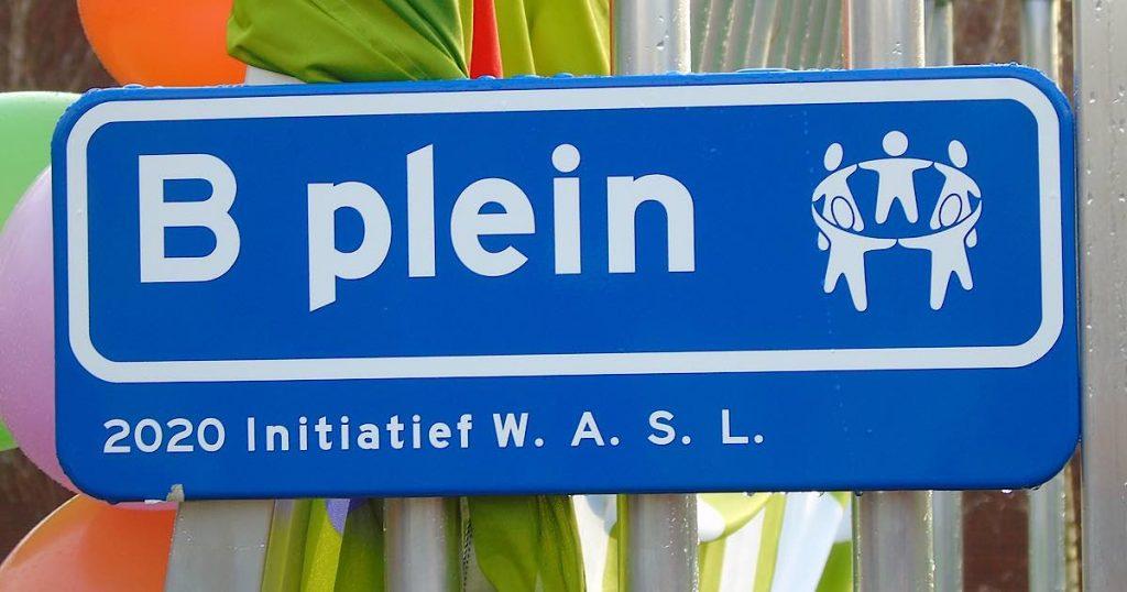 Naambord Voetbalplek Bplein | Foto: Hans Peter van Rietschoten