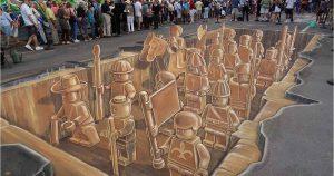 Street artist Leon Keer start met maken vloerschildering @ Berlijnplein